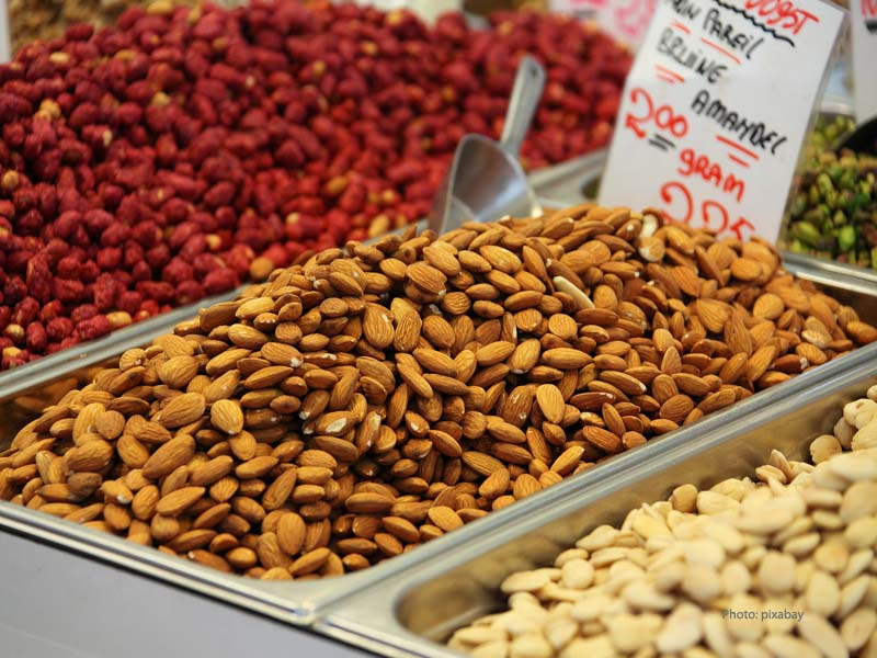 Almonds in a store