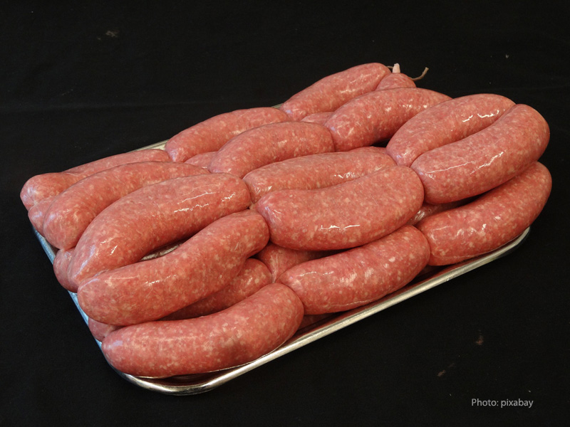Fresh sausage in a butcher